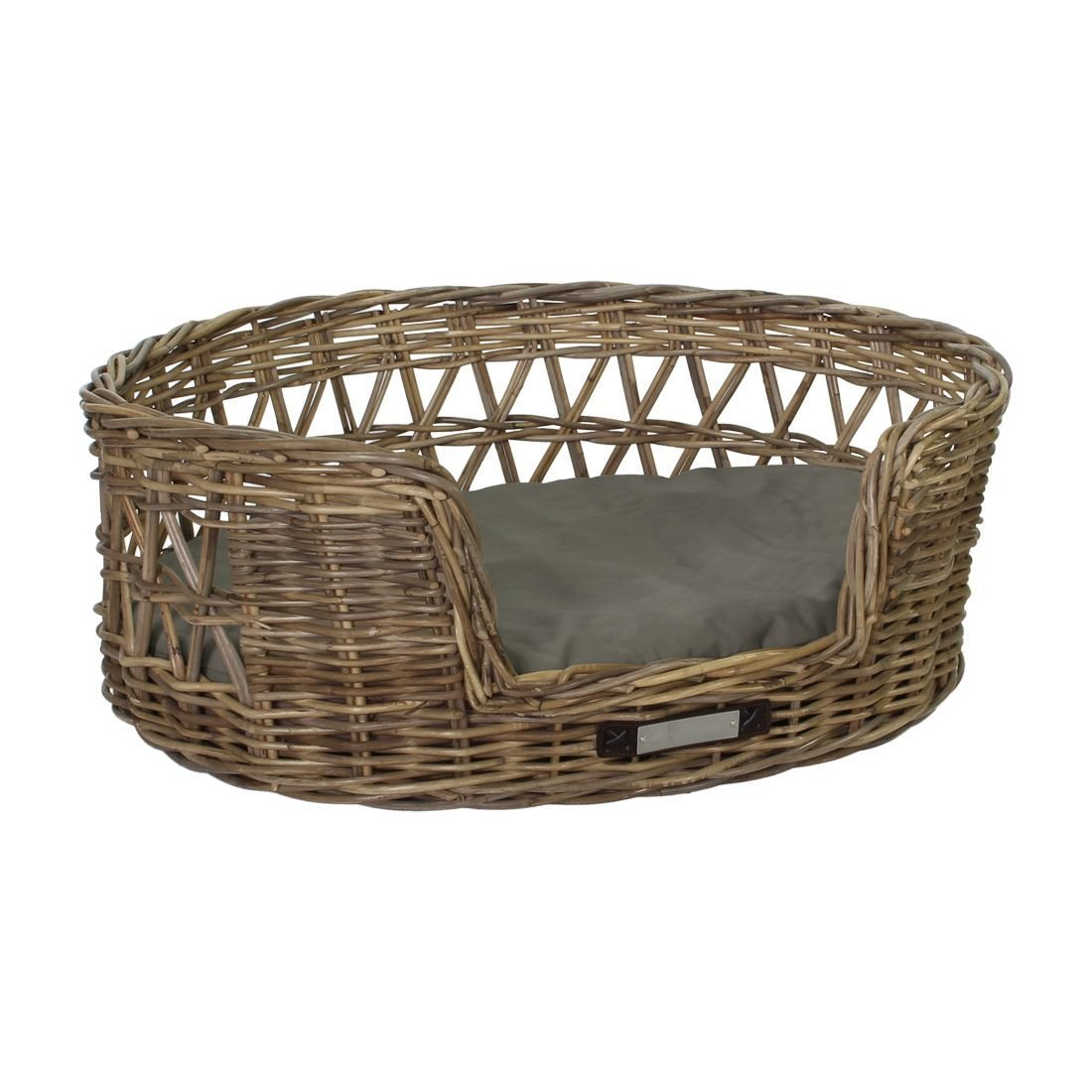 Happy House Klassischer Luxury Haustier-Rattankorb Oval, XL: 85x77x31 / 78x65 cm