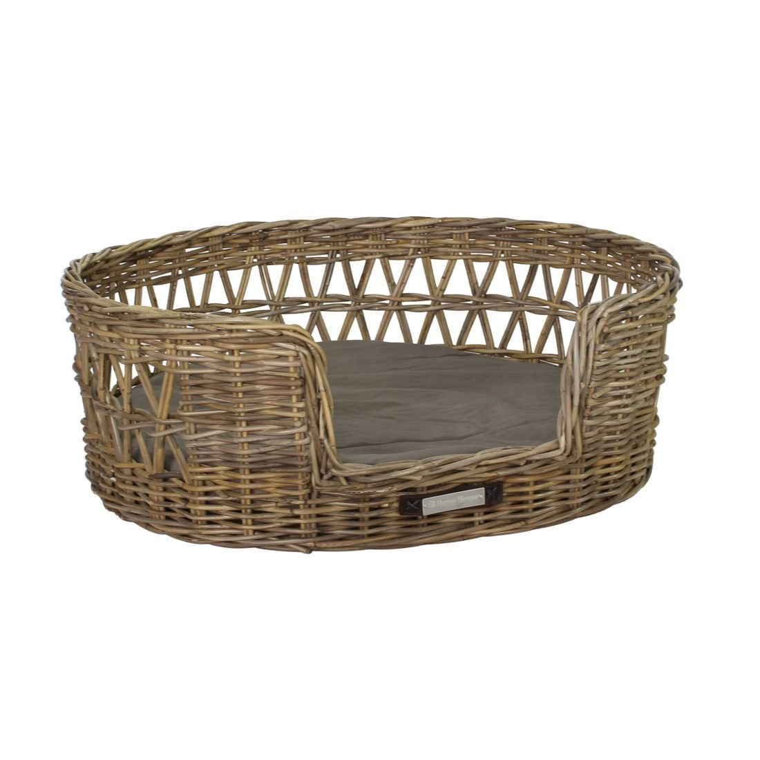 Happy House Klassischer Luxury Haustier-Rattankorb Oval, XXL: 95x83x34 / 86x74 cm