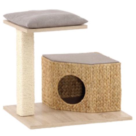 Silvio Design Kleiner Kratzbaum Wohnboy Loom, L50 x B60 x H54 cm, Eichedekor - Kissen grau