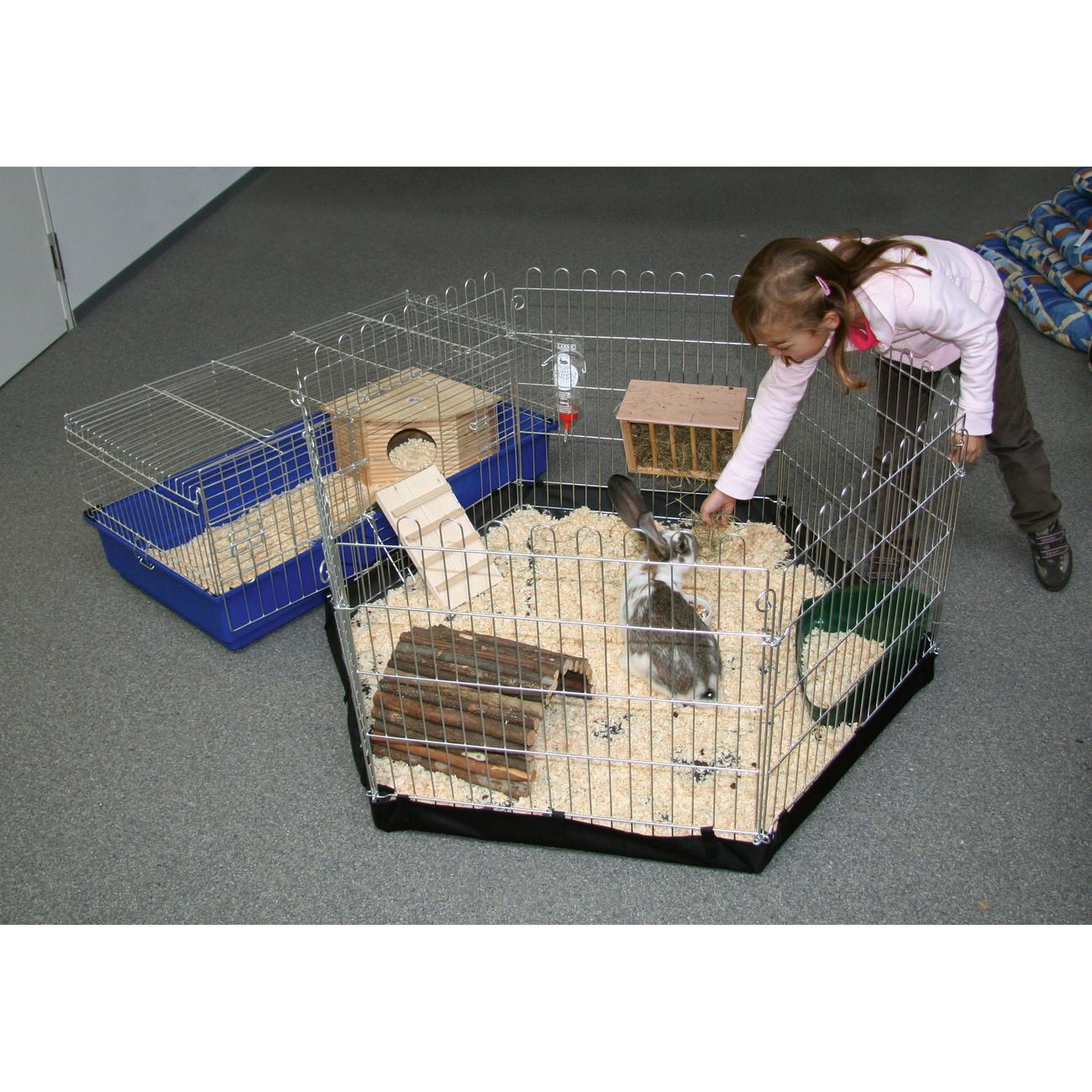 Kleintier Freigehege, verzinkt, 6 eckig mit Tür und Netz Bild 5