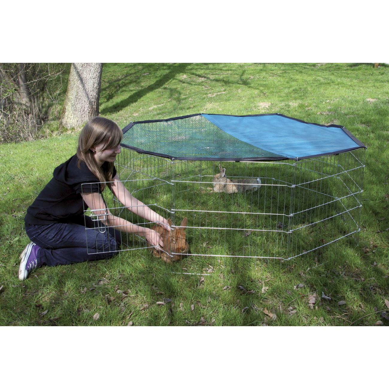 Kerbl Kleintier Freigehege verzinkt 8 eckig mit Netz und Tür, Bild 4