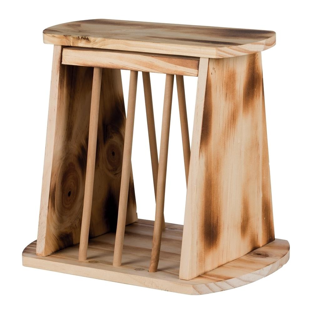 Trixie Kleintier Heuraufe zum Aufstellen mit Deckel Holz geflammt 61193
