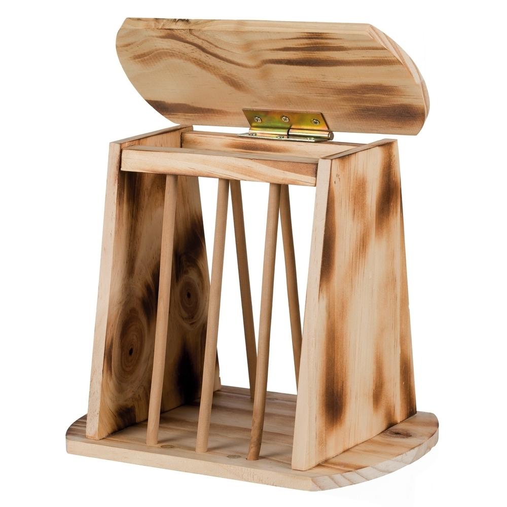 Trixie Kleintier Heuraufe zum Aufstellen mit Deckel Holz geflammt 61193, Bild 2