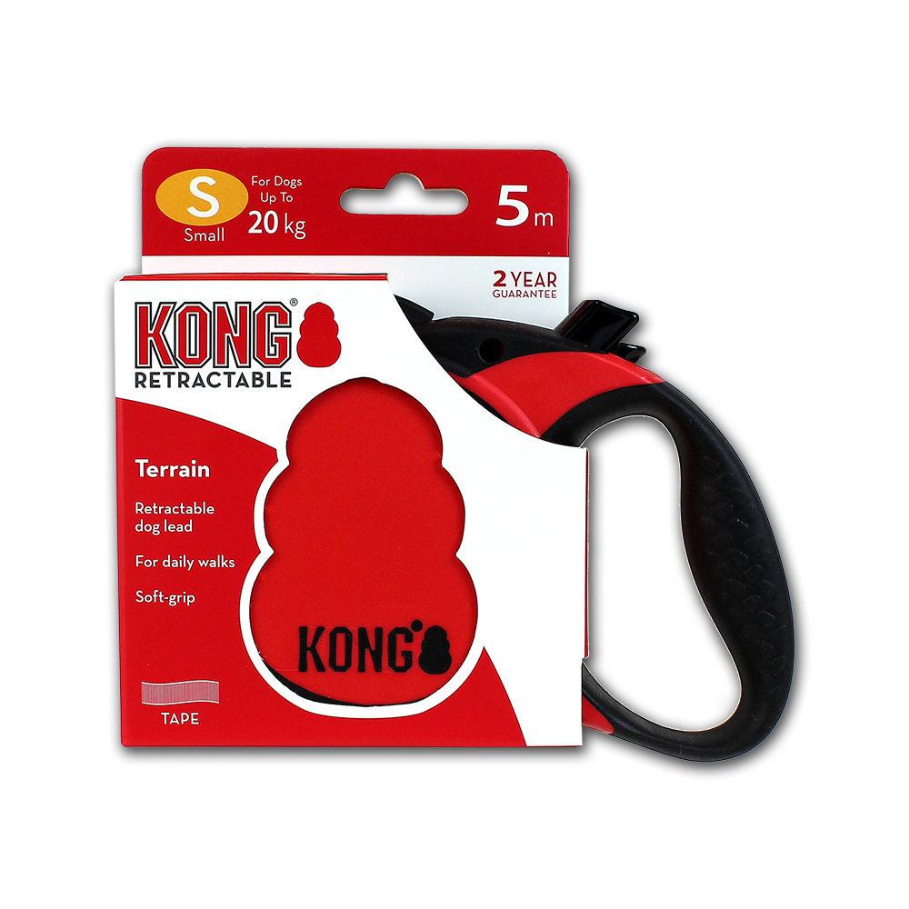 KONG Rollleine Terrain für Hunde, small, rot