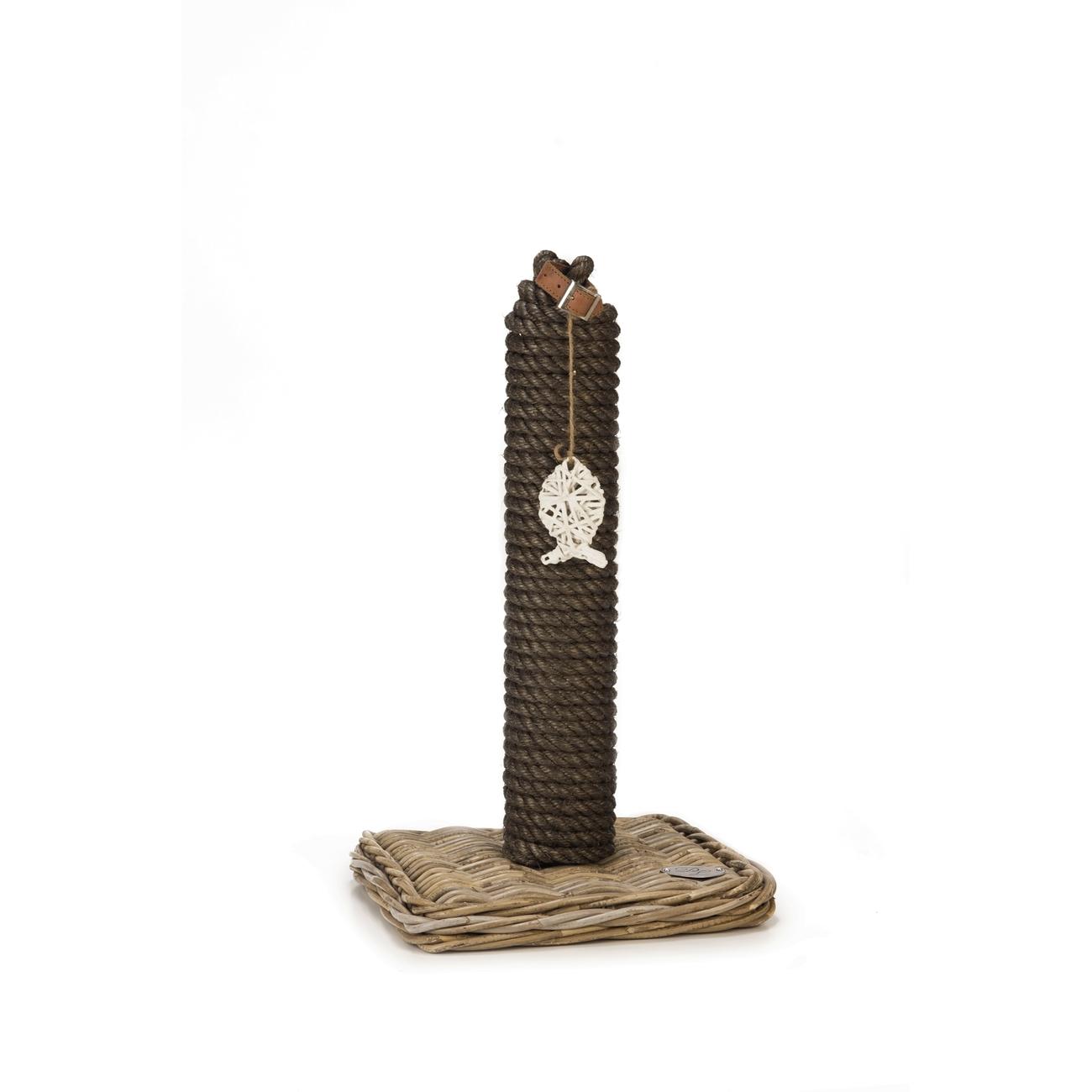 Beeztees Kratzbaum Kubu Rattan, 35 x 35 x 55 cm, Ø Stamm 10 cm