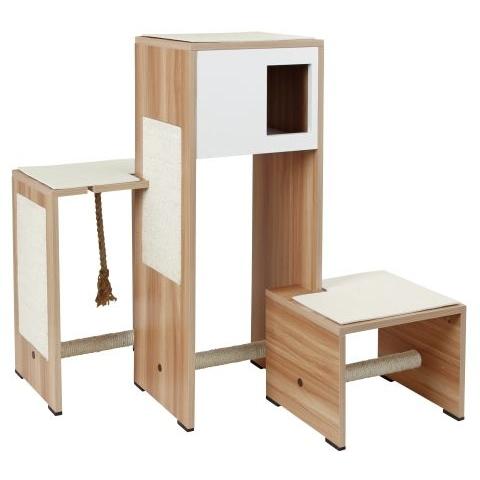 Kerbl Kratzmöbel Ambiente im Holzdekor, Holzdekor/weiß