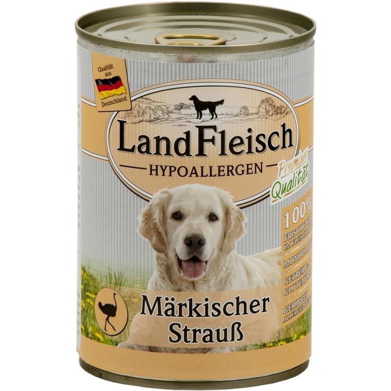 LandFleisch Hypoallergen Hundefutter, Märkischer Strauß 12x400g
