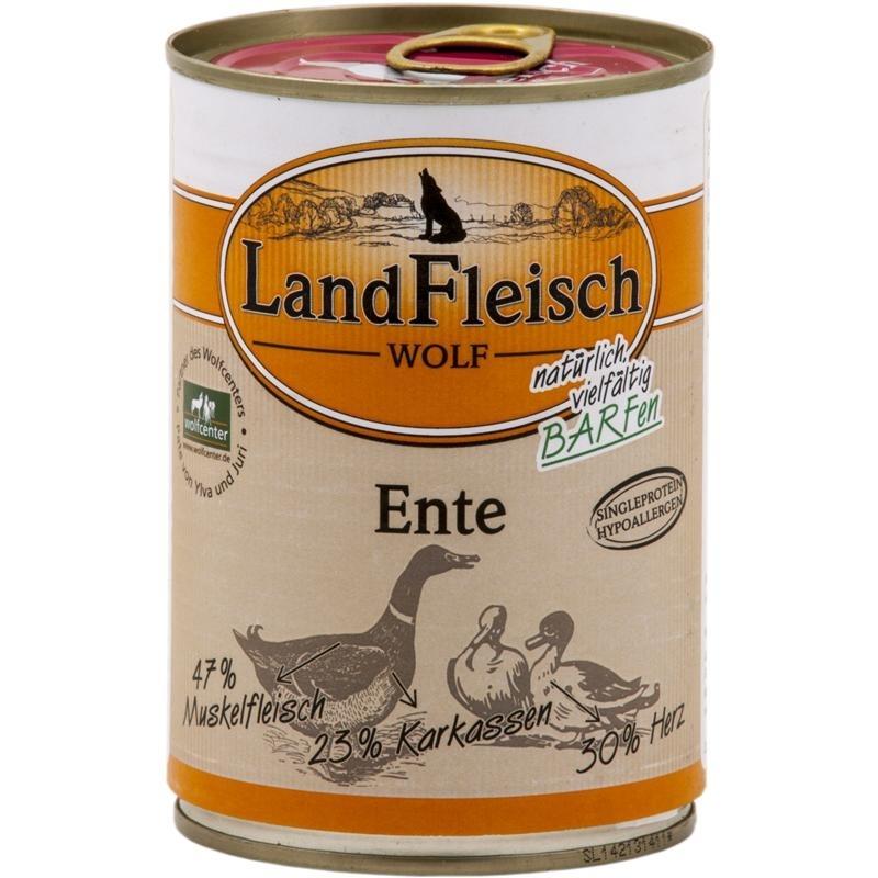 Dr. Alders LandFleisch Wolf Hundefutter, 100% von der Ente 12x400g