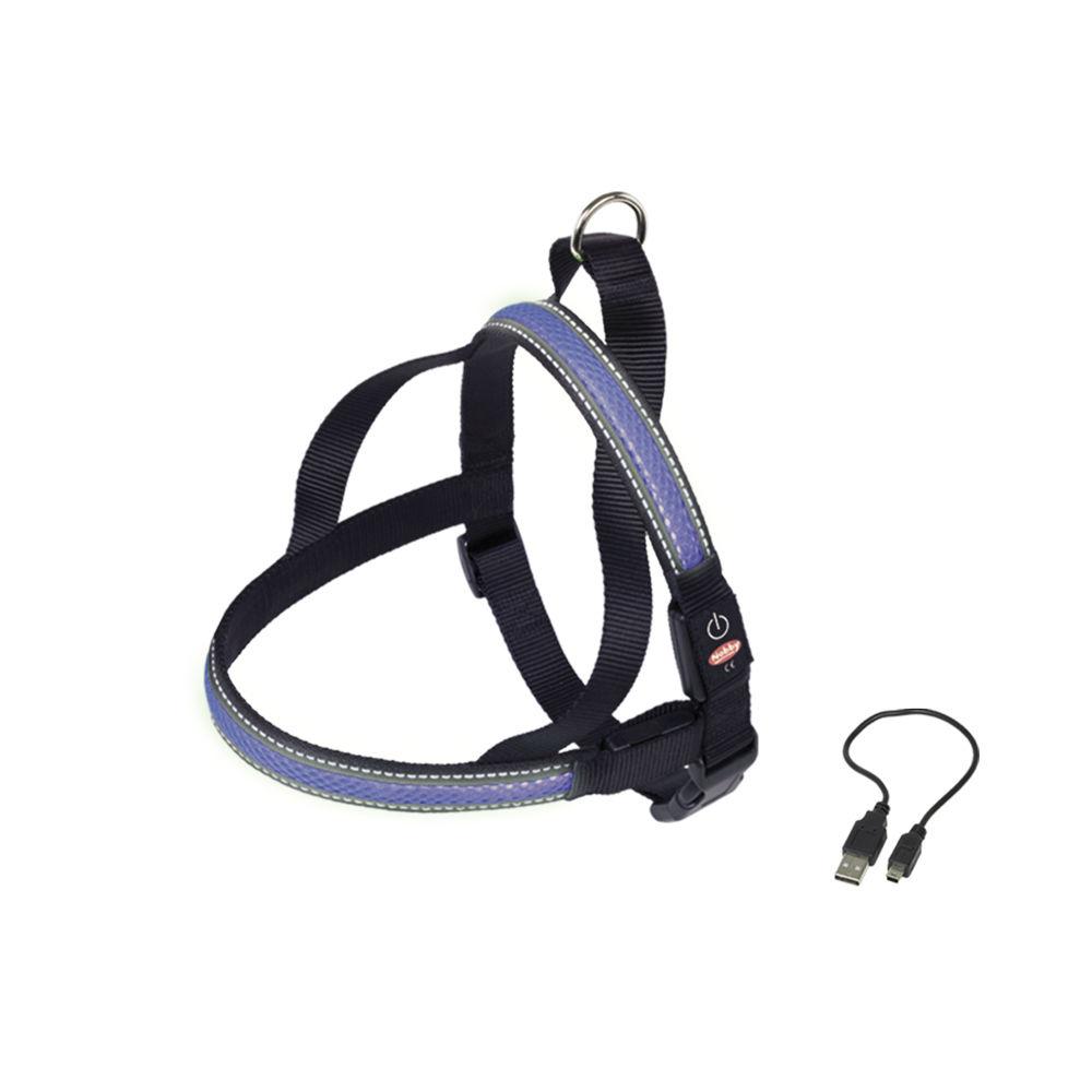 Nobby LED Norweger Geschirr FLASH MESH für Hunde, L: L: 70-85 cm + 52; B: 30 mm, blau