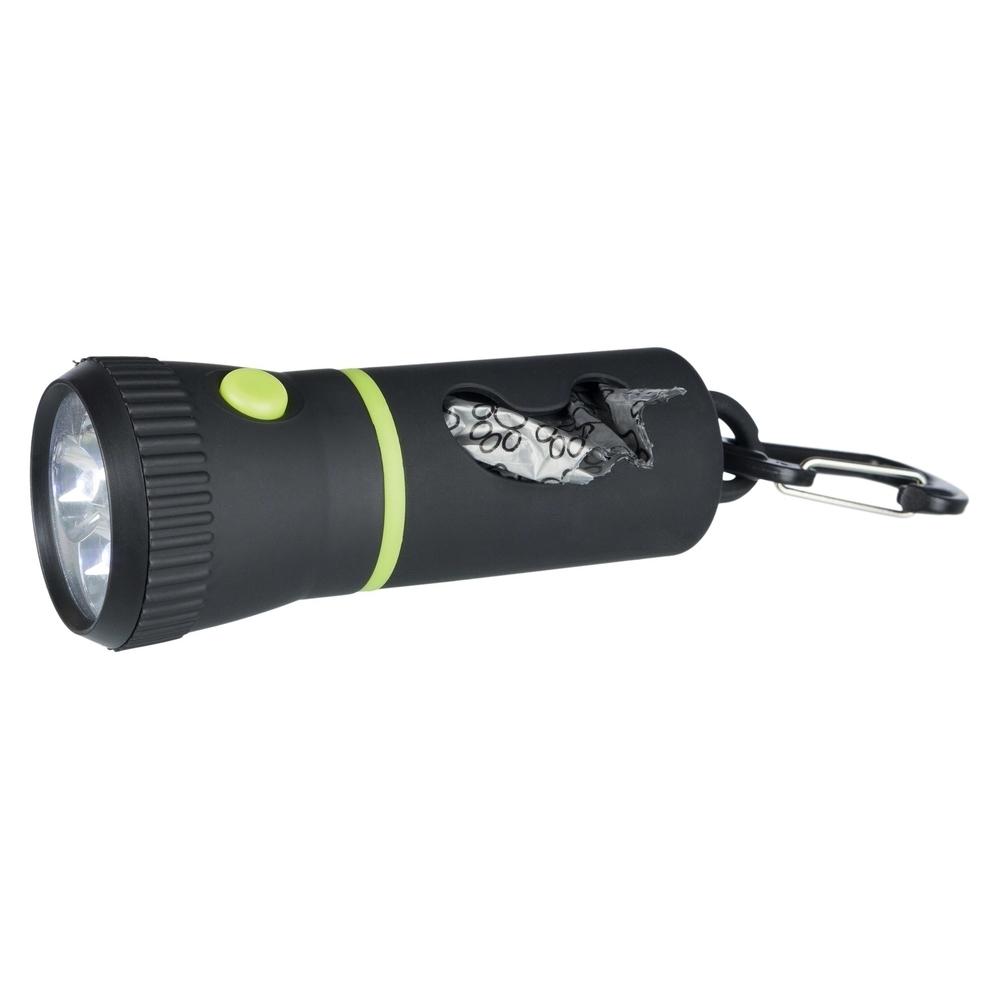 Trixie LED Taschenlampe mit Kotbeutel-Spender, inkl. 1 Rolle, 17 cm, schwarz