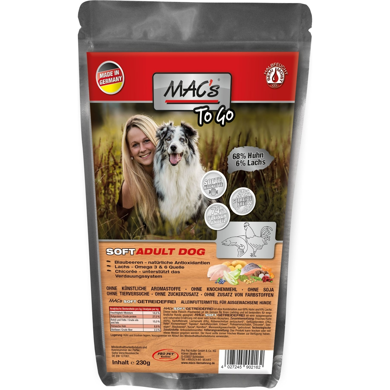 MACs Soft Grain Free Halbfeuchtfutter, 230g (to go)