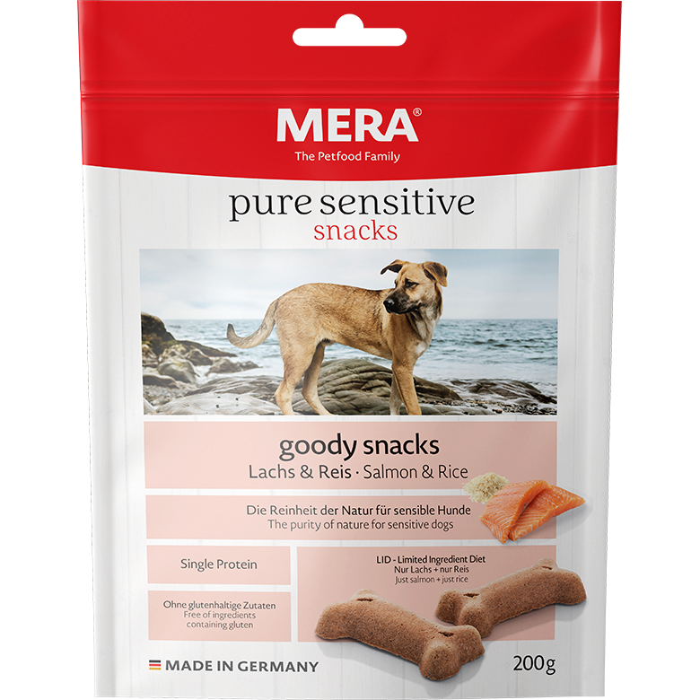 Mera Dog Pure Sensitive Goody Snack für Hunde, Lachs & Reis 200g