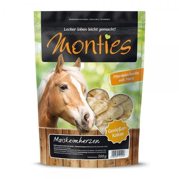 Allco Monties Pferdeleckerlis Gebackene Kekse, Maiskeimherzen 500g