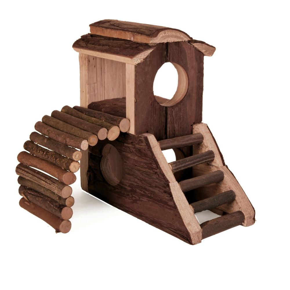 Trixie Nager Spielburg Mats aus Holz, Naturholz, 17,5 x 10,5 x 14,5 cm
