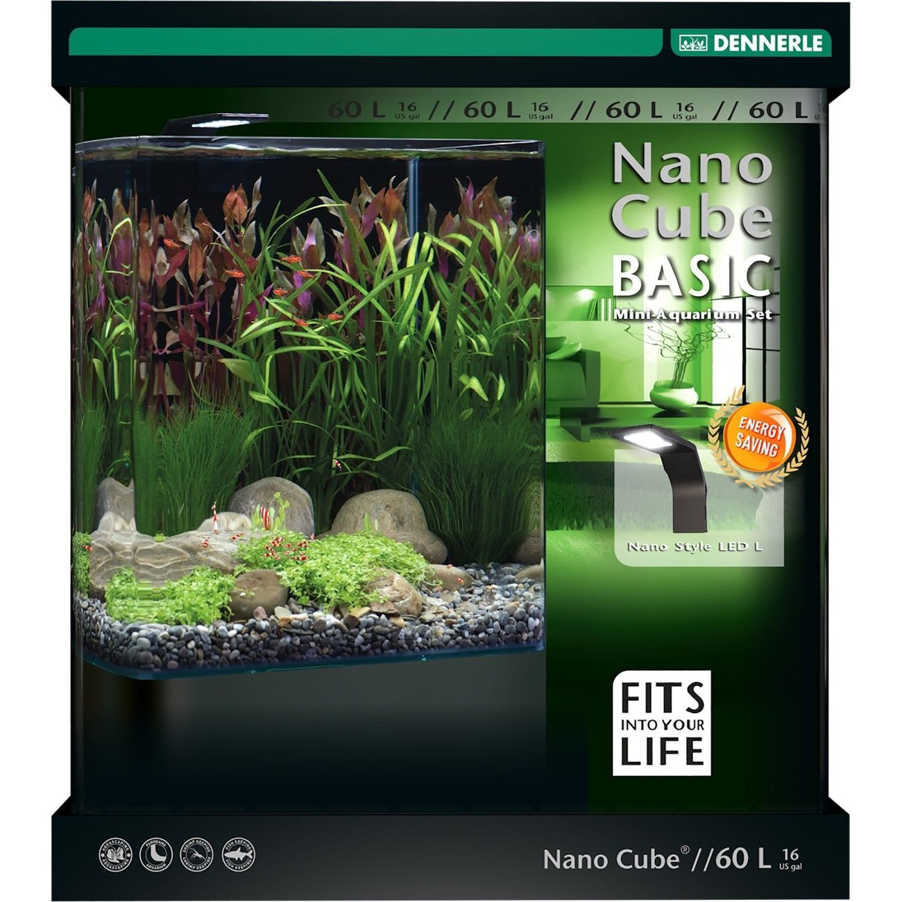 Dennerle NanoCube Basic Style LED Aquarium, 60 Liter