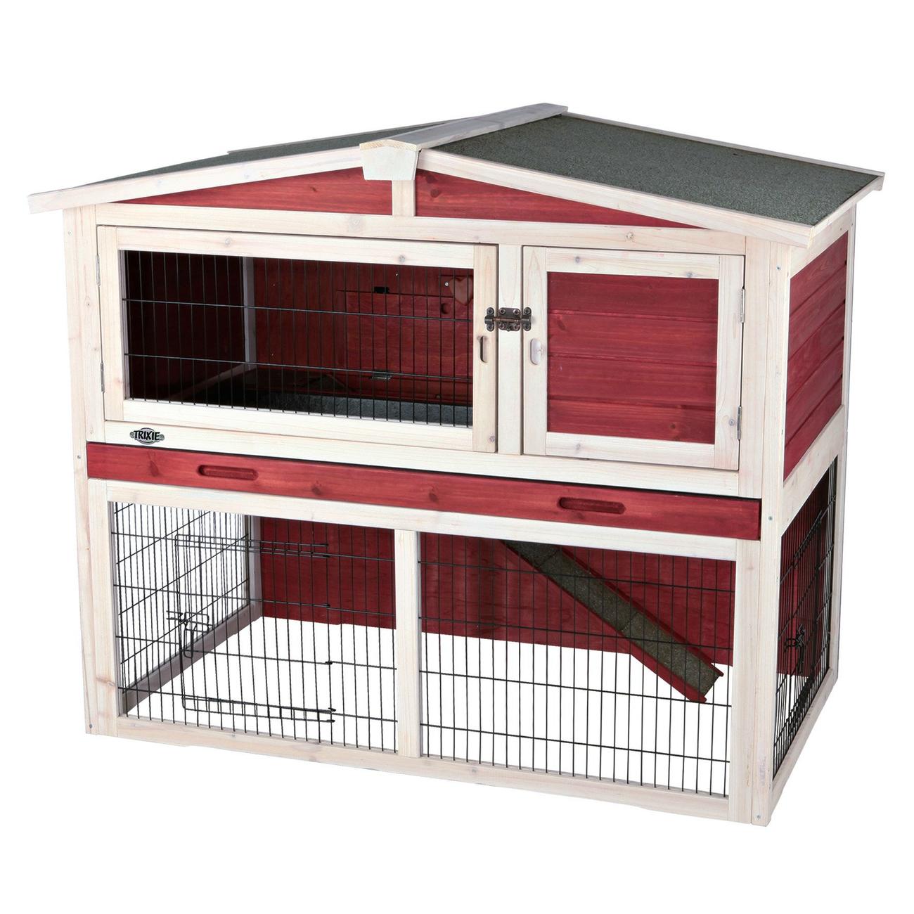 Trixie Natura Kaninchenstall mit Freilaufgehege rot-weiß 62325, Bild 2