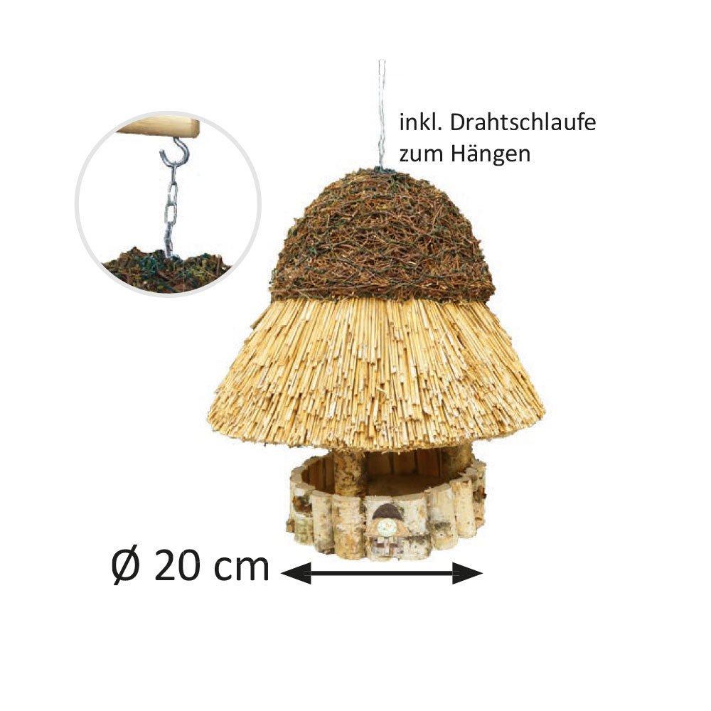 Niemöller Vogelhaus Reetdach Amrum, klein Ø 20 cm - Birke natur - ohne Ständer