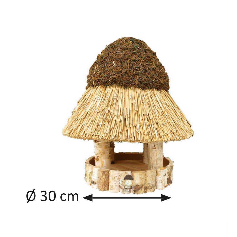 Niemöller Vogelhaus Reetdach Amrum, groß Ø 30 cm - Birke natur - ohne Ständer