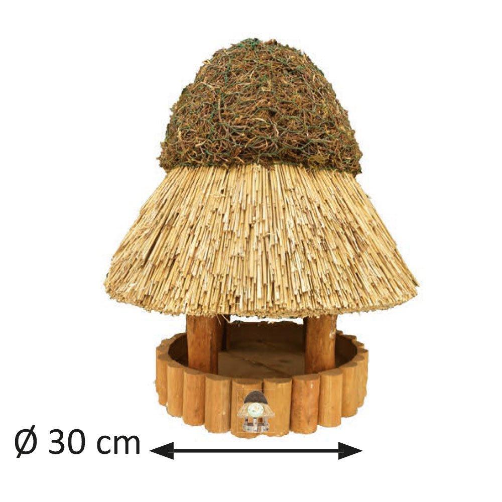 Niemöller Vogelhaus Reetdach Amrum, groß Ø 30 cm - Kiefer braun - ohne Ständer