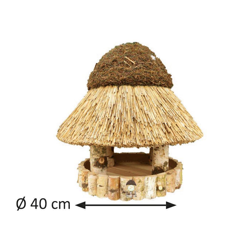 Niemöller Vogelhaus Reetdach Föhr, klein Ø 40 cm - Birke natur - ohne Ständer