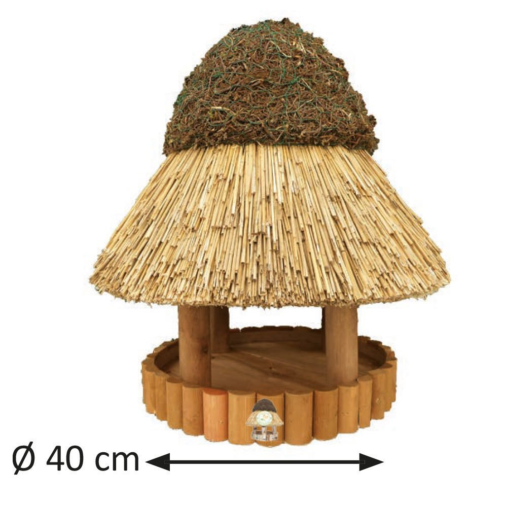Niemöller Vogelhaus Reetdach Föhr, klein Ø 40 cm - Kiefer braun - ohne Ständer