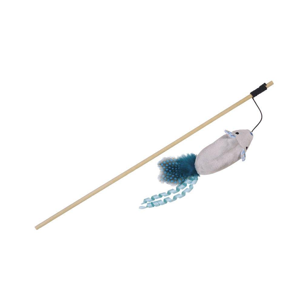 Nobby Angel mit Katzenminze, Stab 40 cm - Band mit Spielzeug 95 cm - blau/grau