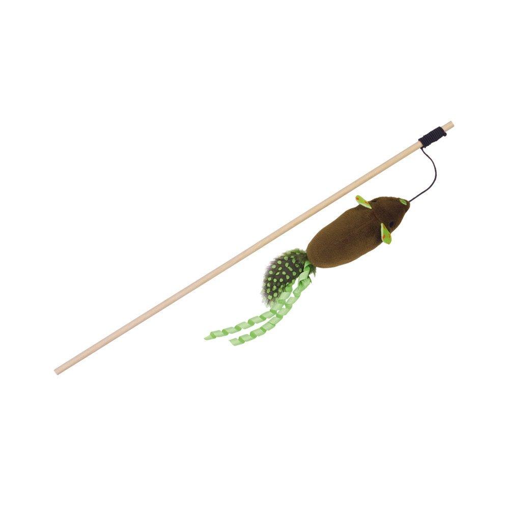 Nobby Angel mit Katzenminze, Stab 40 cm - Band mit Spielzeug 95 cm - grün/braun