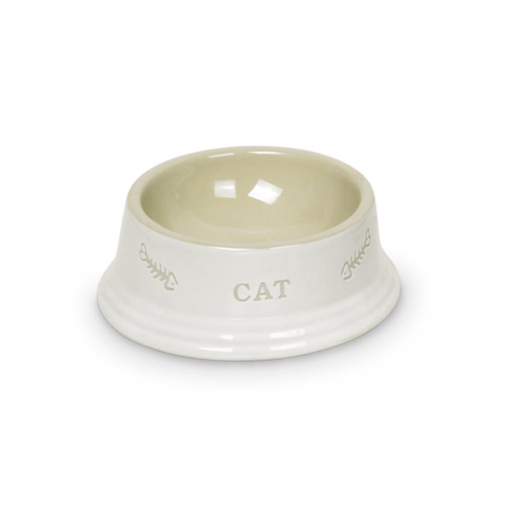 Nobby Katzennapf aus Keramik CAT, Ø14 x 4,8 cm, weiß / beige
