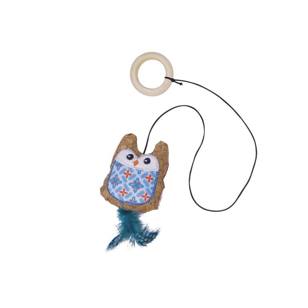 Nobby Kork Eule mit Katzenminze, 7,5 cm - blau