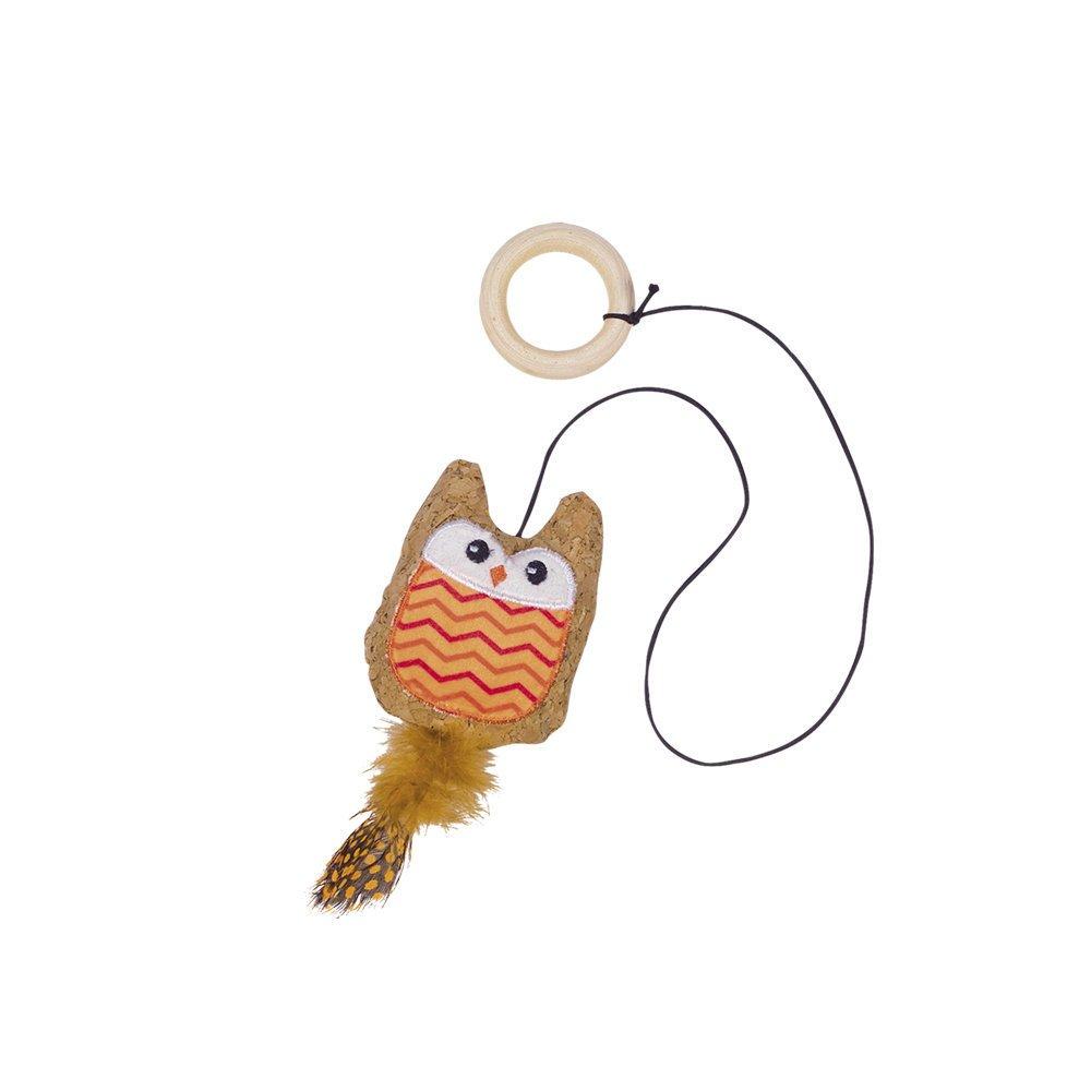 Nobby Kork Eule mit Katzenminze, 7,5 cm - orange
