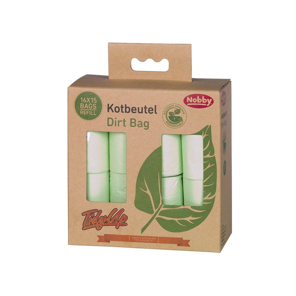 Nobby Kotbeutel biologisch abbaubar, 16 Rollen á 15 Beutel - grün