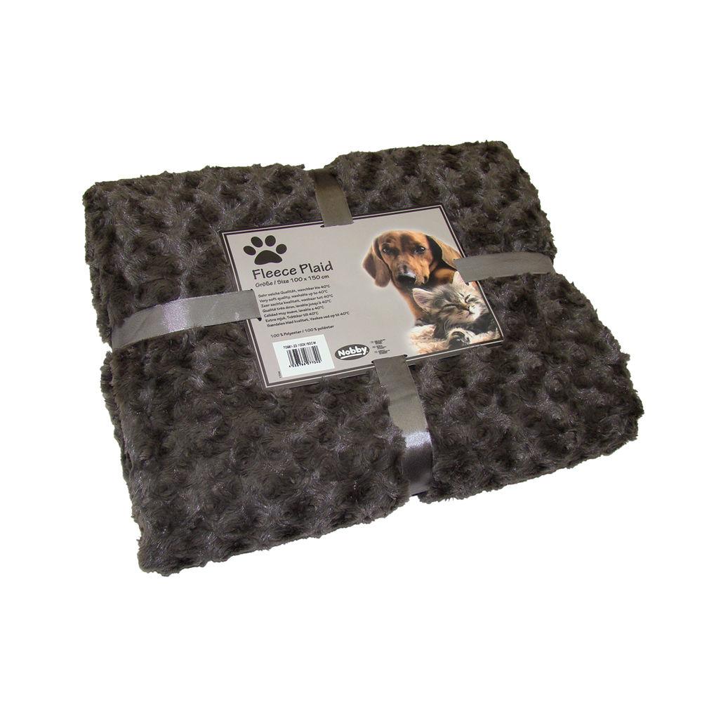 Nobby Kuscheldecke Haustierdecke Fleece Super Plaid, 60x85 cm, braun