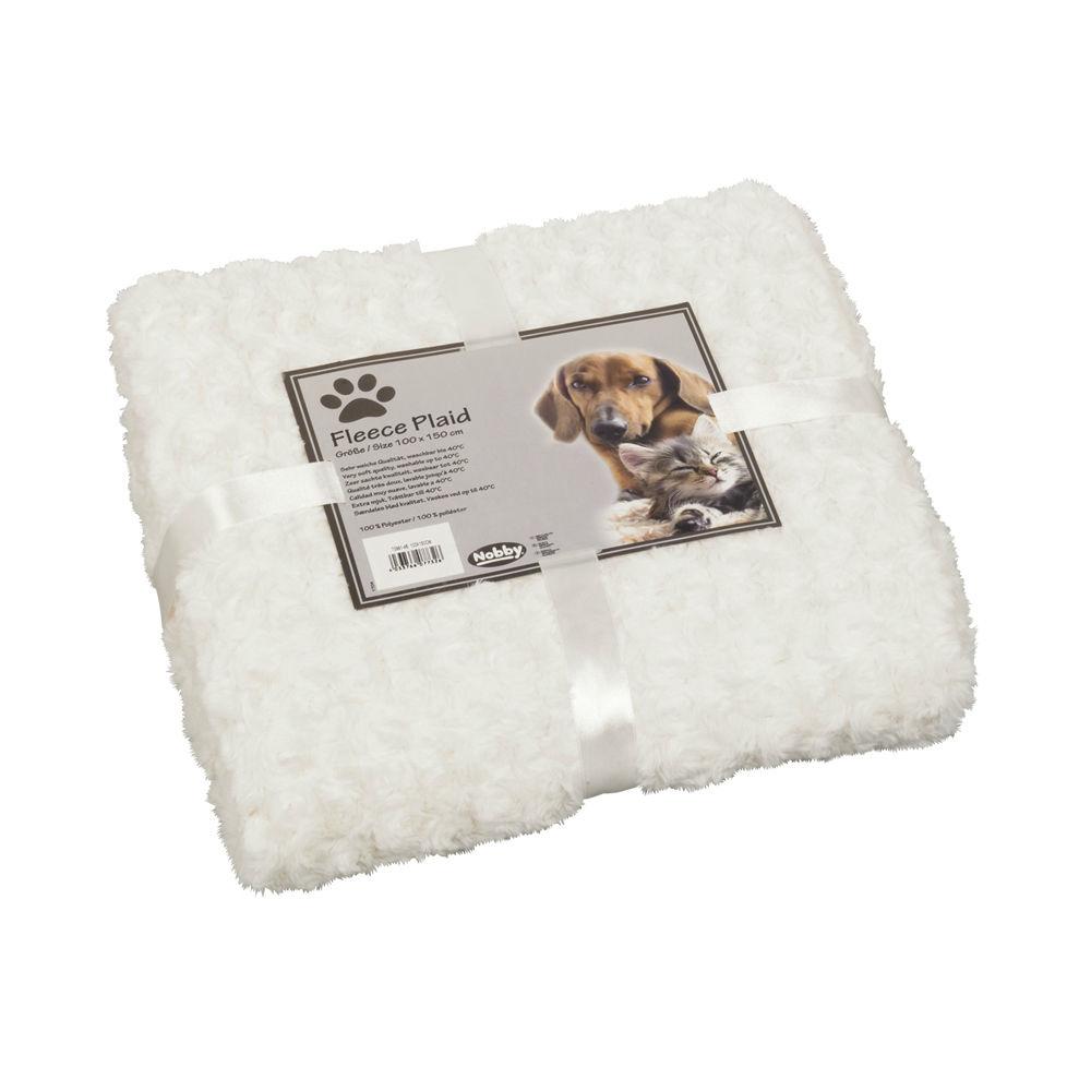 Nobby Kuscheldecke Haustierdecke Fleece Super Plaid, 60x85 cm, weiß/ecru
