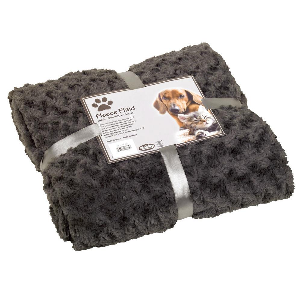 Nobby Kuscheldecke Haustierdecke Fleece Super Plaid, 60x85 cm, grau