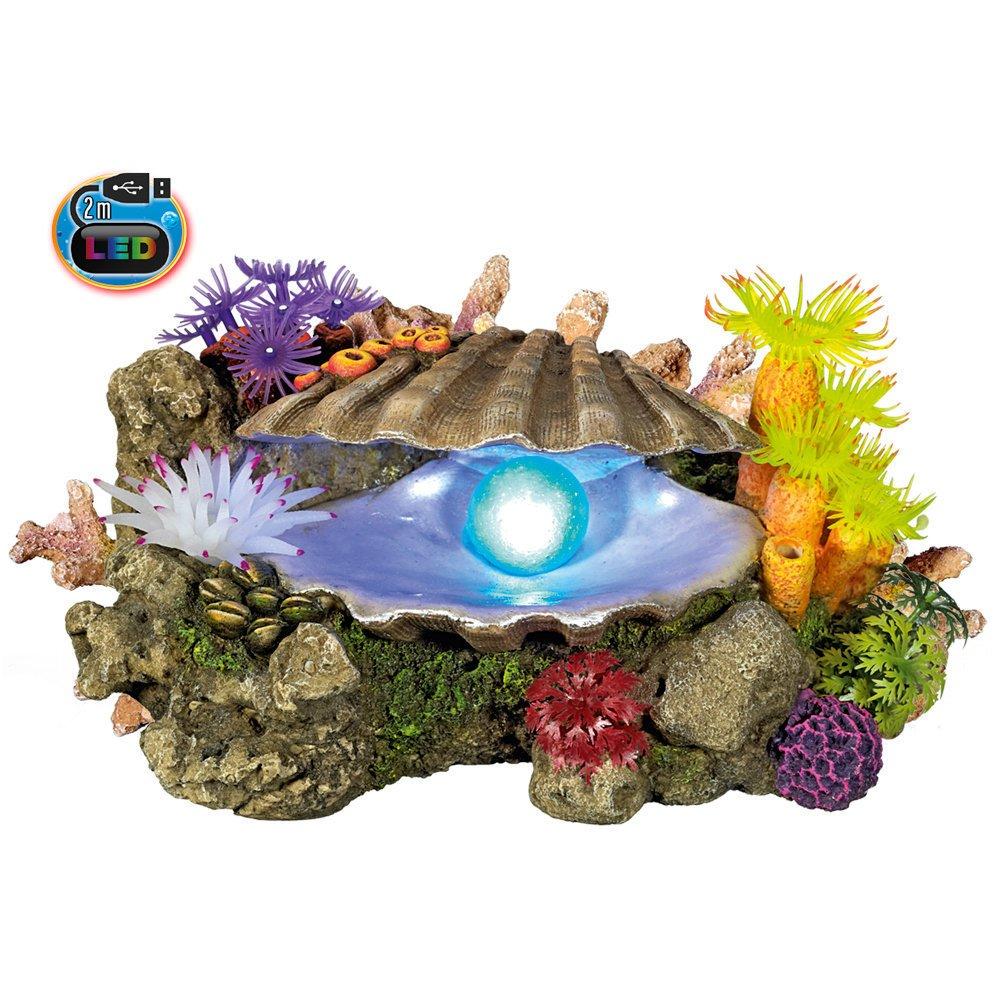Nobby LED Muschel mit Pflanzen, 21,3 x 14,7 x 10,7 cm