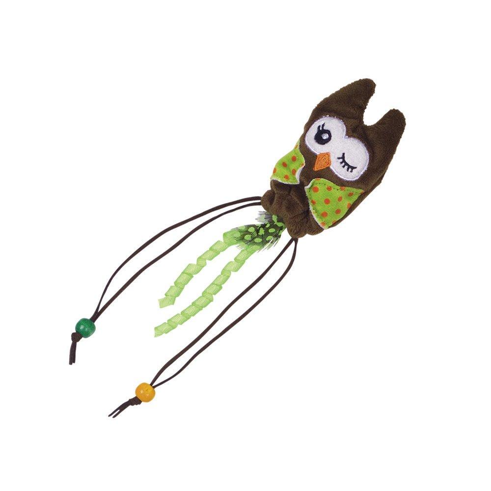 Nobby Plüsch Eule mit Holzkugel, 25 cm - grün/braun