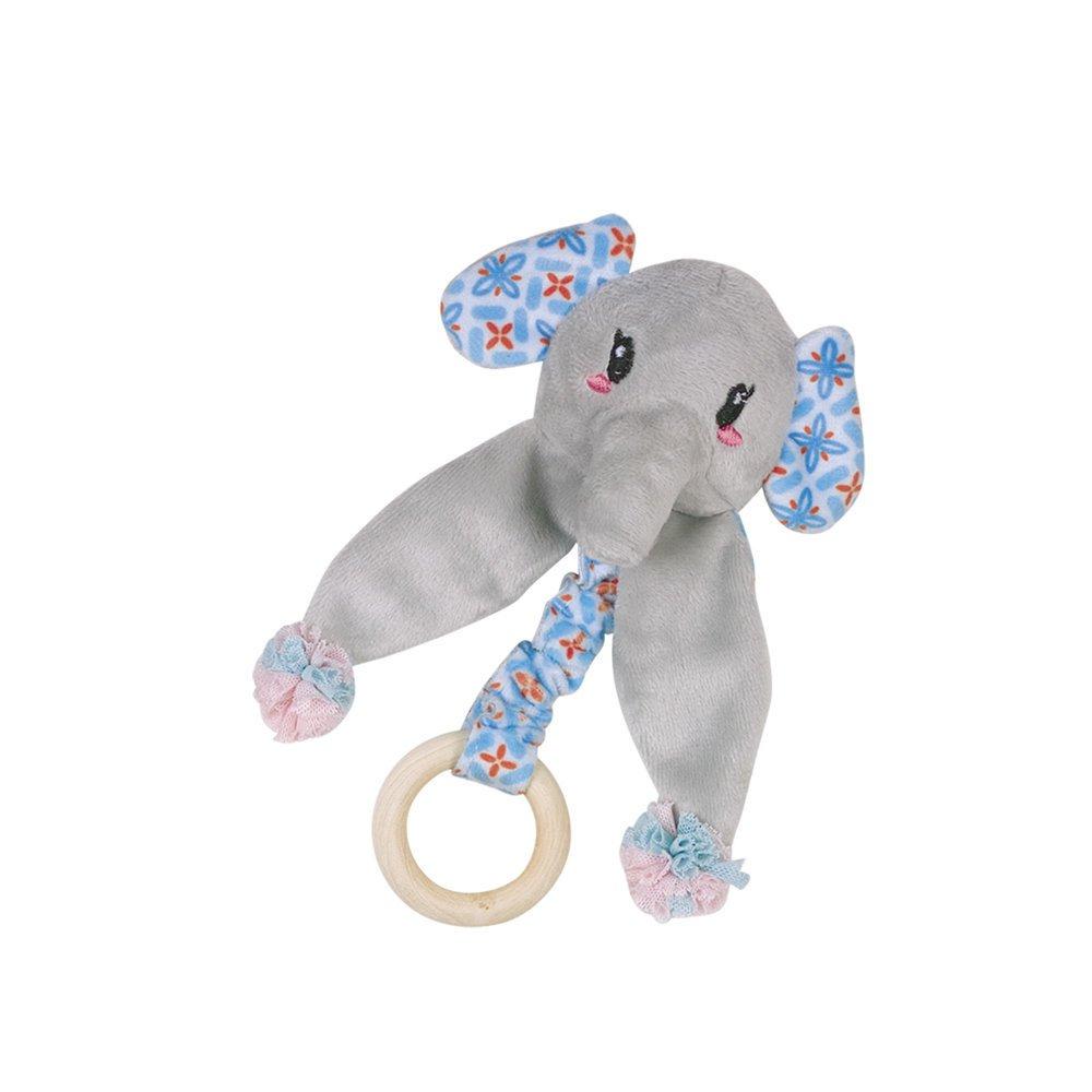 Nobby Plüschtier mit Holzring, Elefant - 16 cm - blau