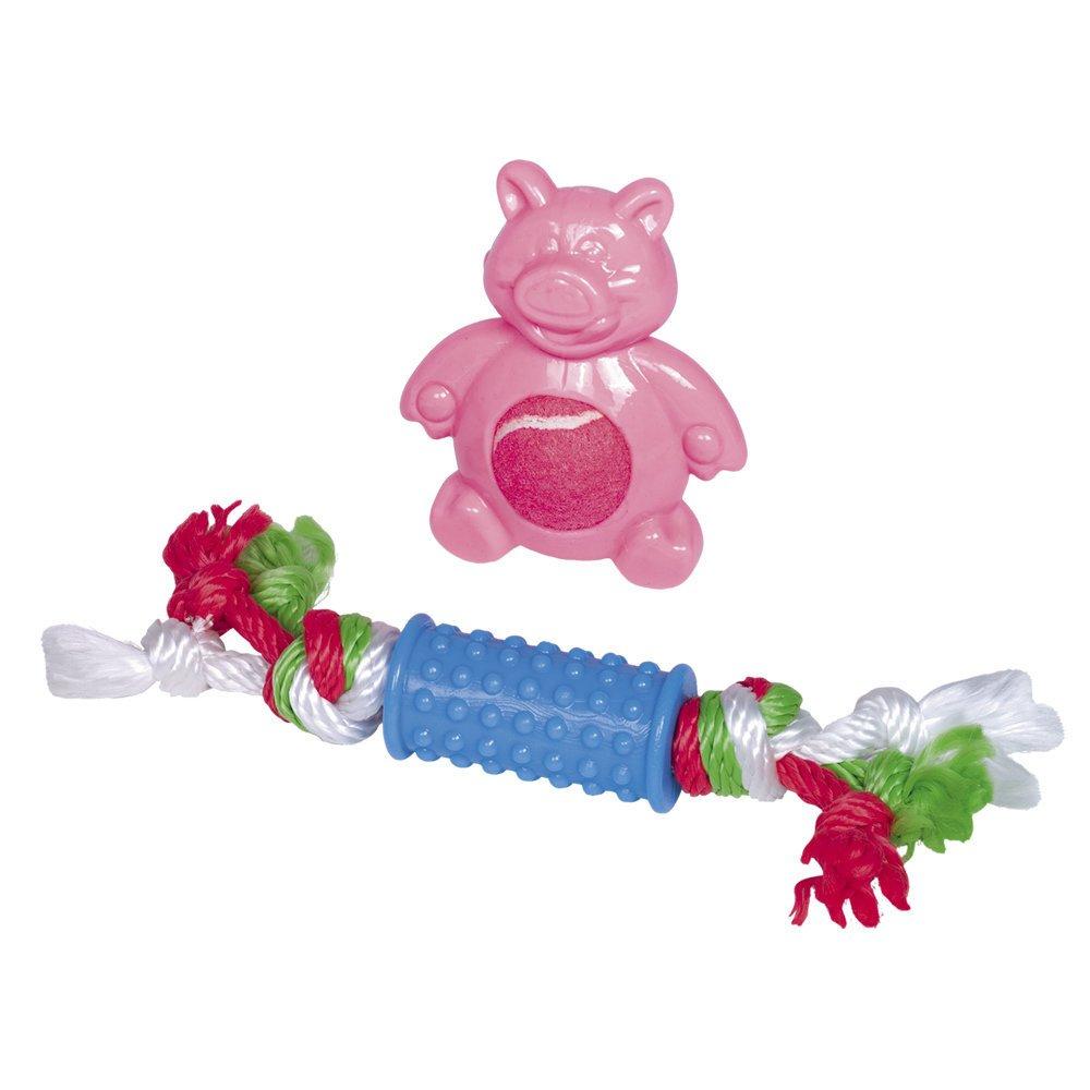 Nobby Welpen Spielzeug Set, Set - 10 cm und 21 cm - pink/blau
