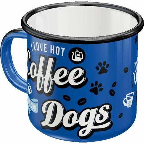 Nostalgic-Art Emaille-Becher Hot Coffee & Cool Dogs, Emaille, 8 x 8 x 8 cm