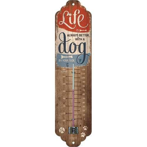 Nostalgic-Art Life is better with a dog, Thermometer