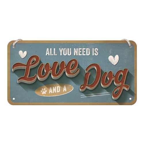 Nostalgic-Art Love Dog, Hängeschild, 10 x 20 cm