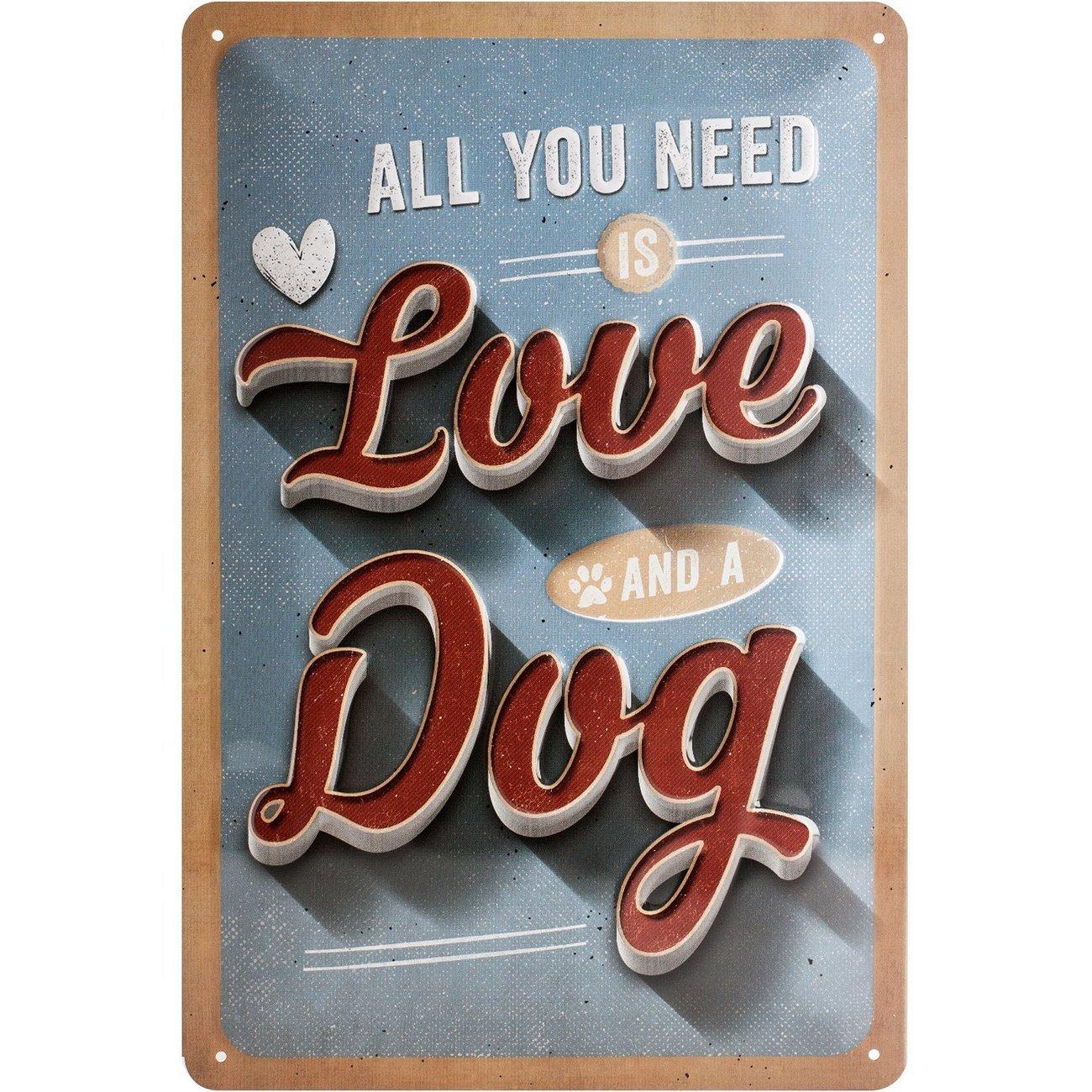 Nostalgic-Art Love Dog, Blechschild, 20 x 30 cm
