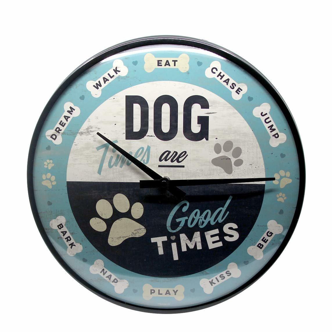 Nostalgic-Art Wanduhr Dog Times, 31cm