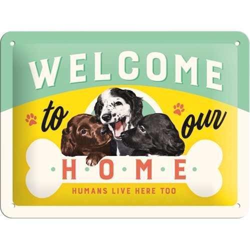 Nostalgic-Art Welcome Puppies, Blechschild, 15 x 20 cm