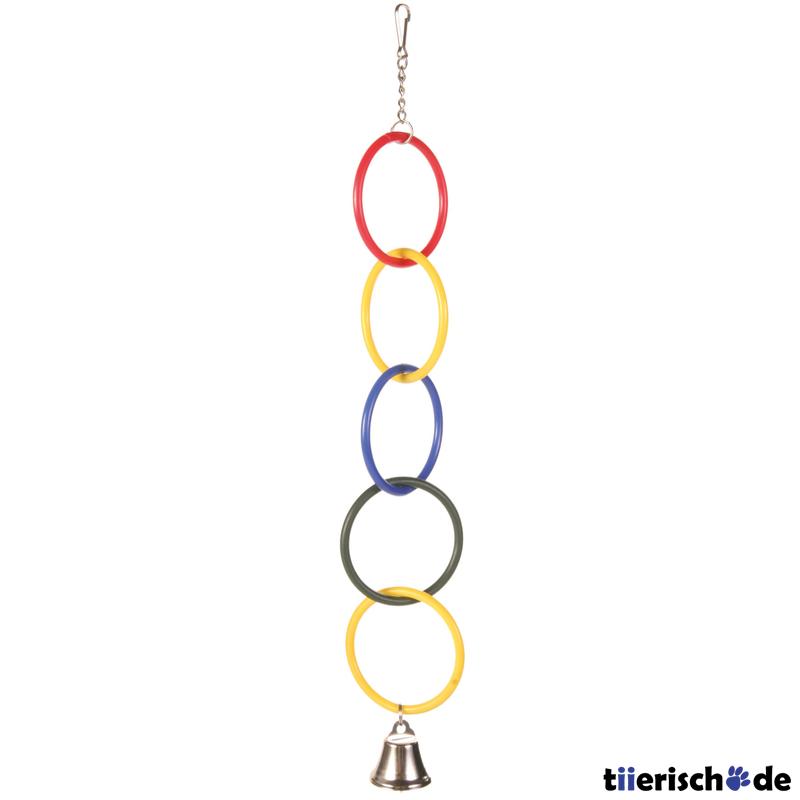 Olympiaringe mit Kette und Glocke für Vogelkäfig