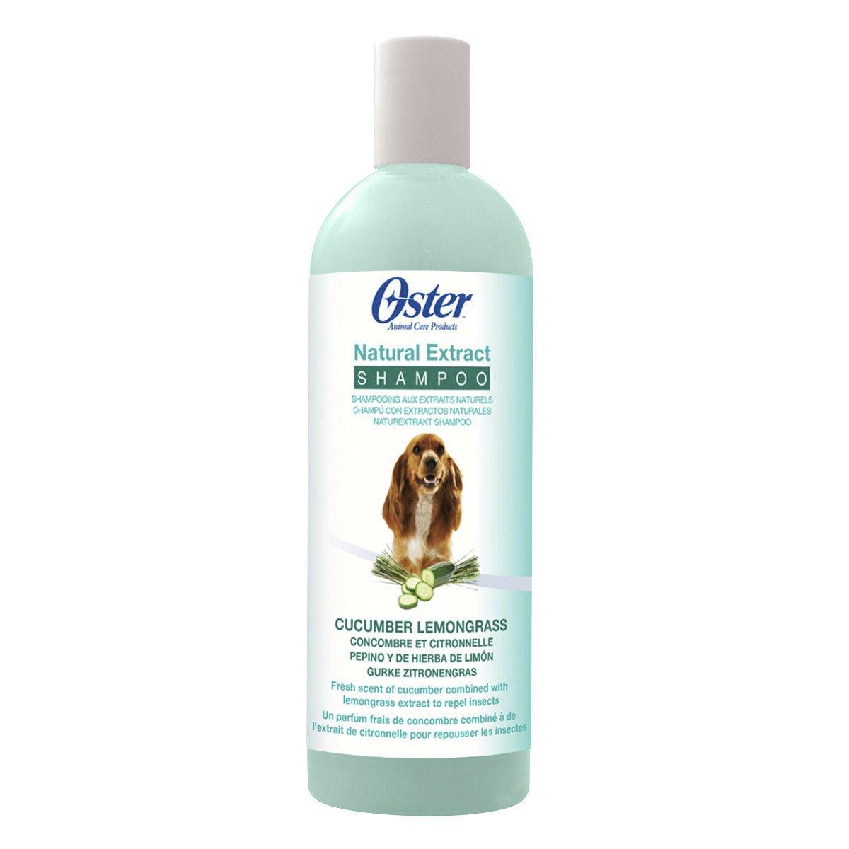 Oster Natural Extract Premium Hundeshampoo, Gurke/Zitronengras Shampoo 473 ml