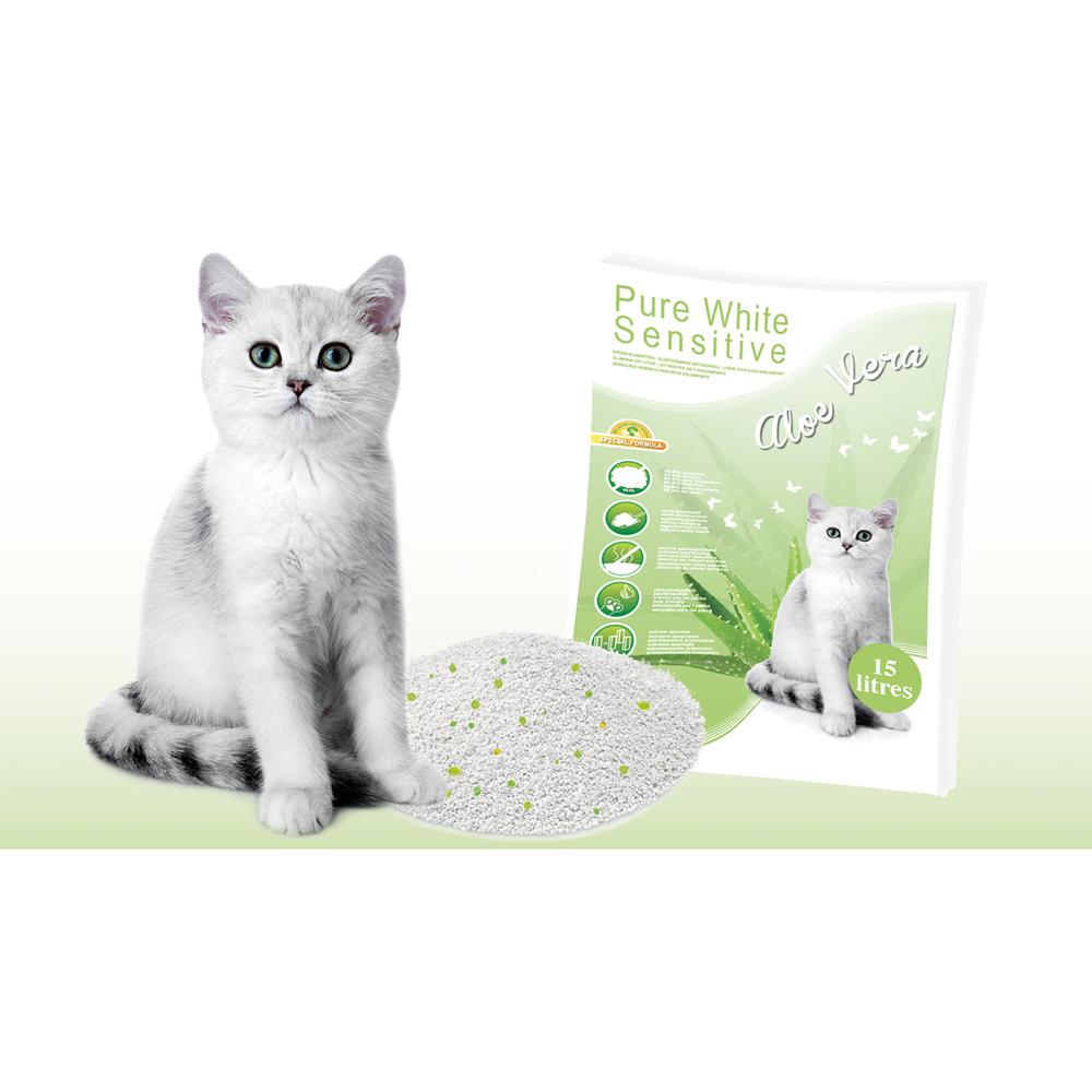 EBI Pure White Sensitive Katzenstreu Aloe Vera, 15 Liter