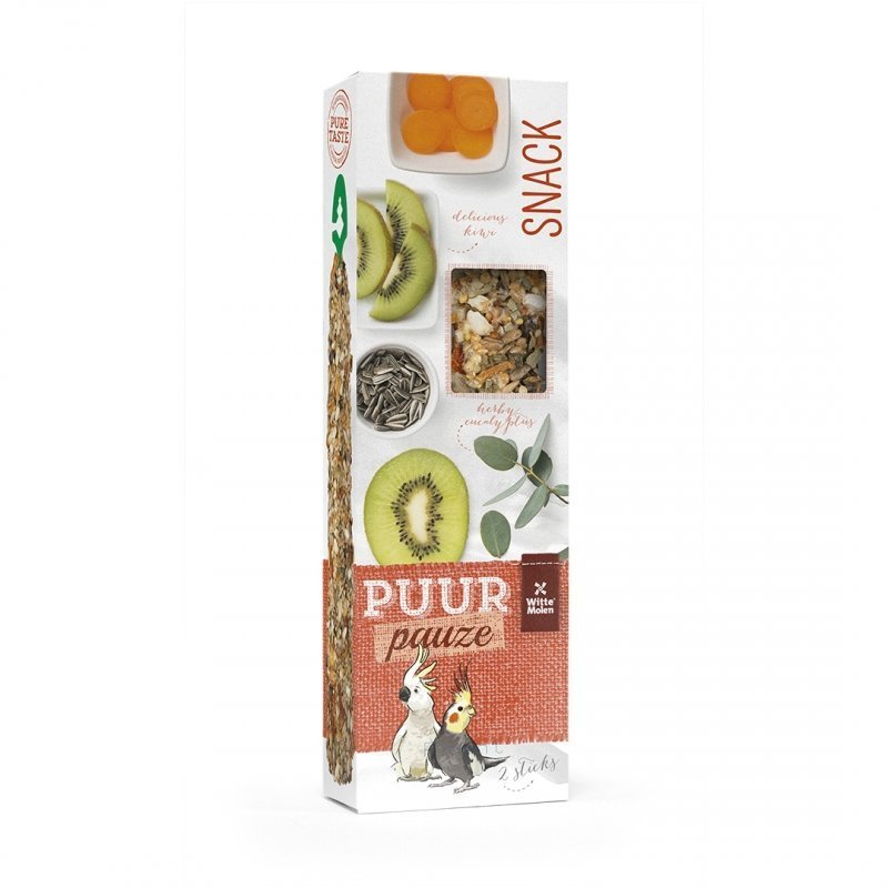 EBI Puur Pauze Samensticks für Vögel, Kiwi & Eukalyptus, 140 g, für Kakadus