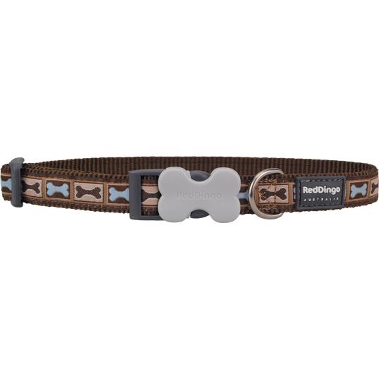 Red Dingo Halsband Design Bone Yard Brown