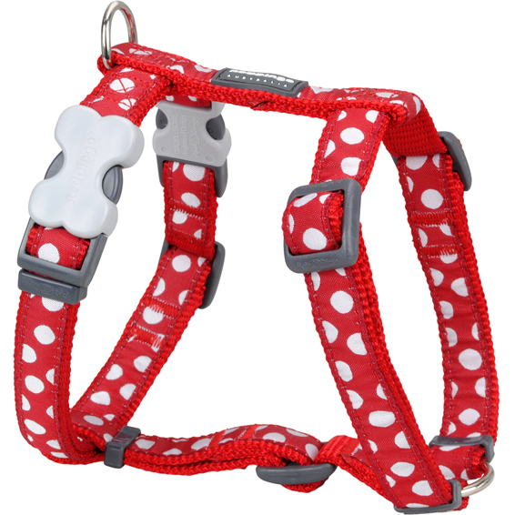 Red Dingo Hundegeschirr Design mit weißen Spots, L: Brust 56 - 80cm, Hals 46 - 76cm, Breite 25mm, weiße Spots/rot